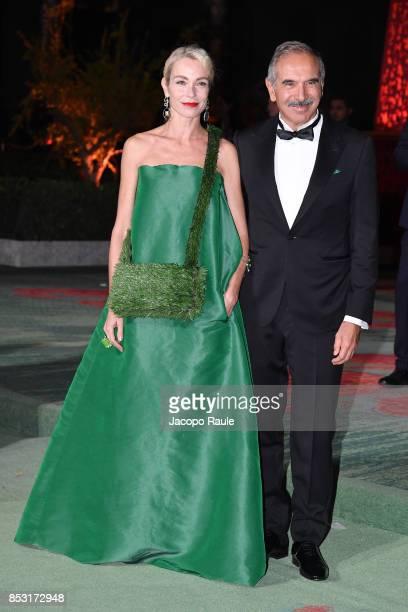Stefania Rocca and Carlo Capasa attend the Green Carpet Fashion Awards Italia 2017 during Milan Fashion Week Spring/Summer 2018 on September 24 2017...