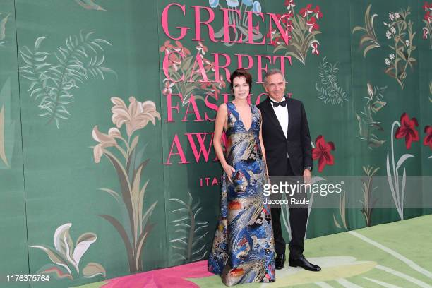 Stefania Rocca and Carlo Capasa attend the Green Carpet Fashion Awards during the Milan Fashion Week Spring/Summer 2020 on September 22 2019 in Milan...