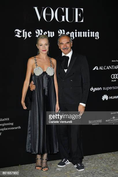 Stefania Rocca and Carlo Capasa attends the Vogue Italia 'The New Beginning' Party during Milan Fashion Week Spring/Summer 2018 on September 22 2017...