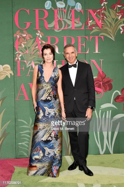 Stefania Rocca and CNMI Presidente Carlo Capasa attend The Green Carpet Fashion Awards Italia 2019 hosted by CNMI EcoAge at Teatro Alla Scala on...