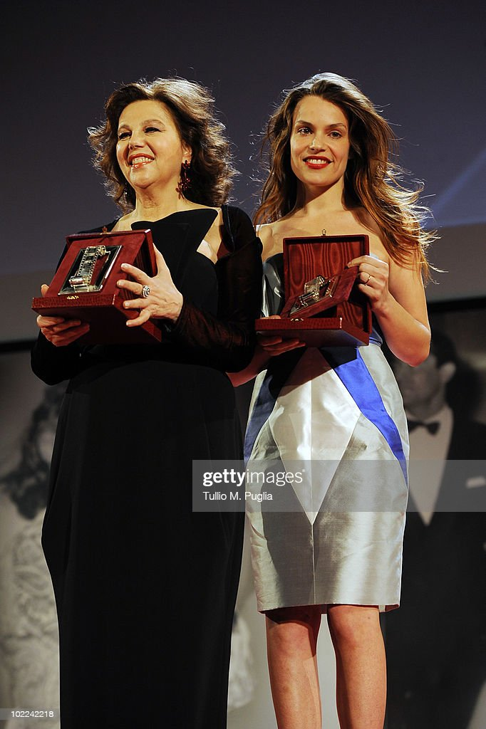 Stefania Sandrelli (L) and Micaela Ramazzotti pose with the awards for Best Actress (Ex Aequo) during the Nastri d'Argento ceremony awards on June 19, 2010 in Taormina, Italy.