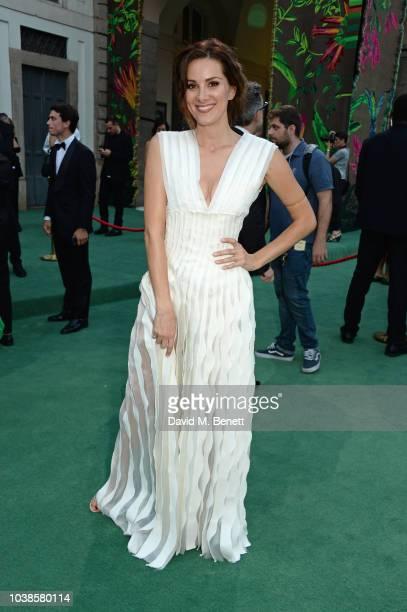 Stefania Spampinato, wearing Tiziano Guardini X Isko, attends The Green Carpet Fashion Awards Italia 2018 at Teatro Alla Scala on September 23, 2018...