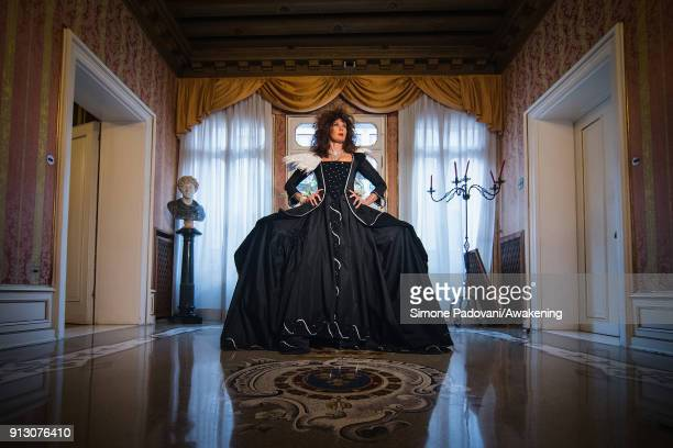 Stefania Stea poses at the hystorical Ca' Nigra Palace wearing a costume of the 1700s created by Atelier Pietro Longhi for the official shooting of...