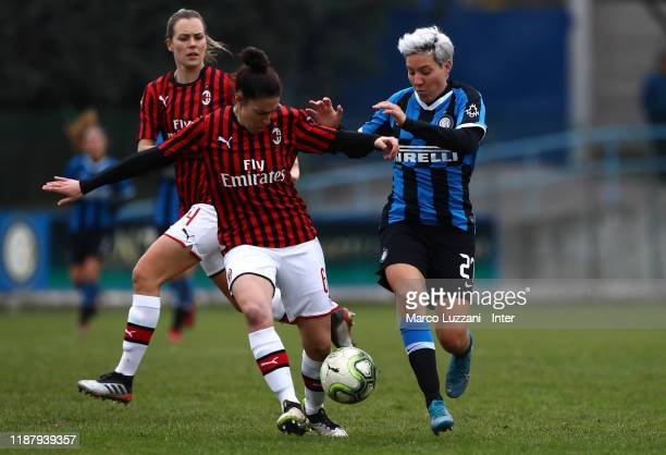 Stefania Tarenzi of FC Internazionale competes for the ball with Laura Fusetti of AC Milan during the Women Coppa Italia match between FC...