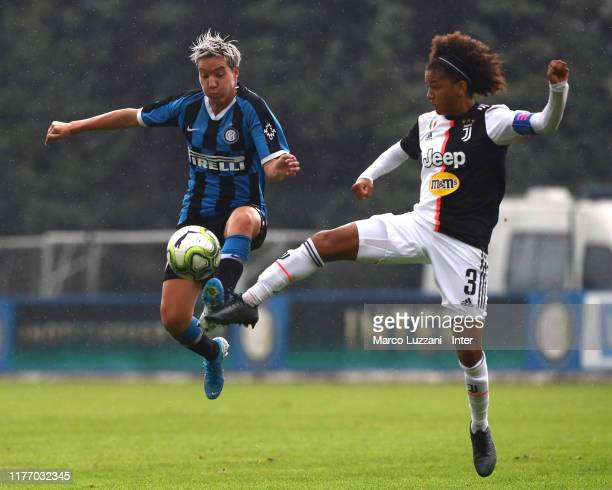 Stefania Tarenzi of FC Internazionale competes for the ball with Sara Gama of Juventus FC during the Women Serie A match between FC Internazionale...