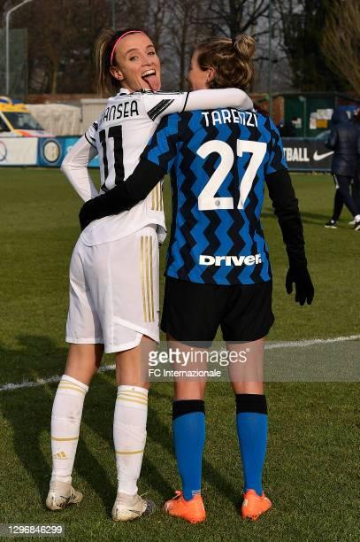Stefania Tarenzi of FC Internazionale poses with Barbara Bonansea of Juventus Women during the Women Serie A match between FC Internazionale and...