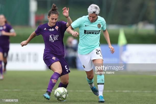 Stefania Tarenzi of FC Internazionale women in action against Alice Tortorelli of ACF Fiorentina women during the Women Serie A match between ACF...