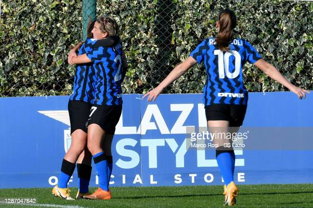 Stefania Tarenzi of FC Internazionle celebrate a second goal with his team mates during the Italian Women's Cup between SS Lazio and FC...