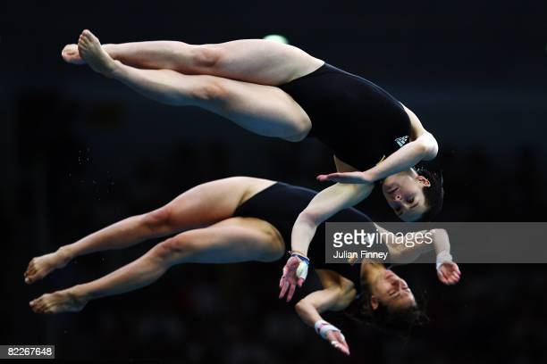 Stefanie Anthes of Germany and Nora Subschinski of Germany competes in the Women's Synchronised 10m Platform Final held at the National Aquatics...