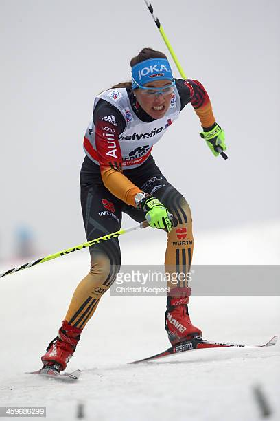 Stefanie Boehler of Germany competes in the Women's 15km qualification free sprint at the Viessmann FIS Cross Country World Cup event at DKB Ski...