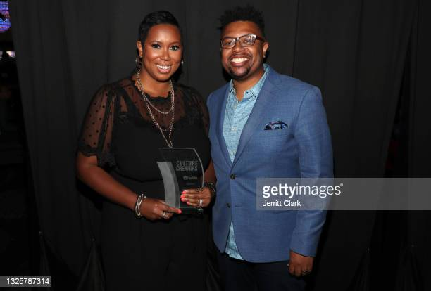 Stefanie Brown James and Quentin James pose backstage after he presented her with the 2021 Culture Creators Social Justice award at the Culture...