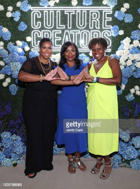 Stefanie Brown James, Joi Brown and Sonya Lockett attend the Culture Creators Innovators & Leaders Awards at The Beverly Hilton on June 26, 2021 in...