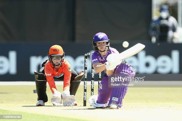 Stefanie Daffara of Hurricanes plays a shot during the Women's Big Bash League match between the Perth Scorchers and the Hobart Hurricanes at the...