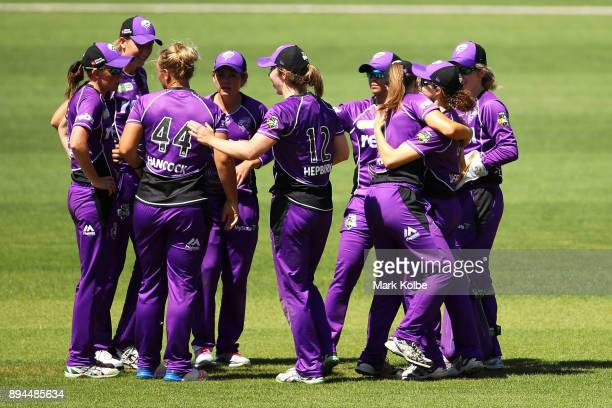 Stefanie Daffara of the Hurricanes celebrates with her team after running out Sara McGlashan of the Sixers during the Women's Big Bash League match...