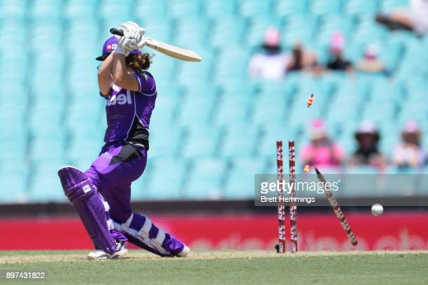Stefanie Daffara of the Hurricanes is bowled out by Marizanne Kapp of the Sixers during the Women's Big Bash League match between the Sydney Sixers...