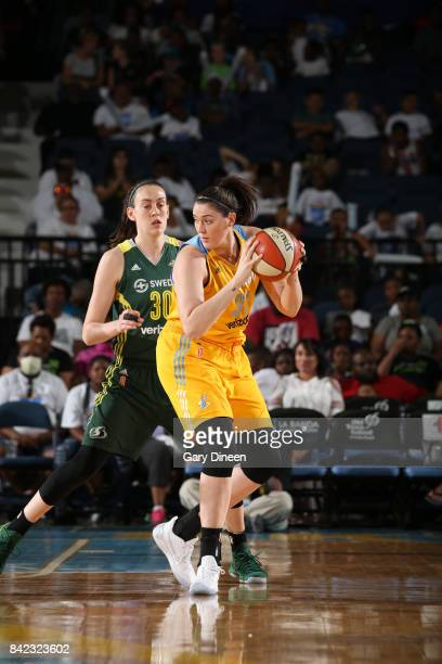 Stefanie Dolson of the Chicago Sky handles the ball against Breanna Stewart of the Seattle Storm on September 3 2017 at Allstate Arena in Rosemont IL...
