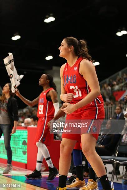 Stefanie Dolson of the Chicago Sky reacts during the 2018 NBA AllStar Game Celebrity Game as part of 2018 NBA AllStar Weekend on February 16 2018 at...