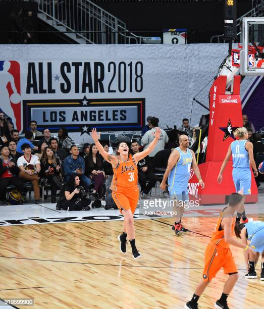 Stefanie Dolson of the Chicago Sky reacts during the 2018 NBA Cares Unified Basketball Game as part of 2018 NBA AllStar Weekend on February 17 2018...