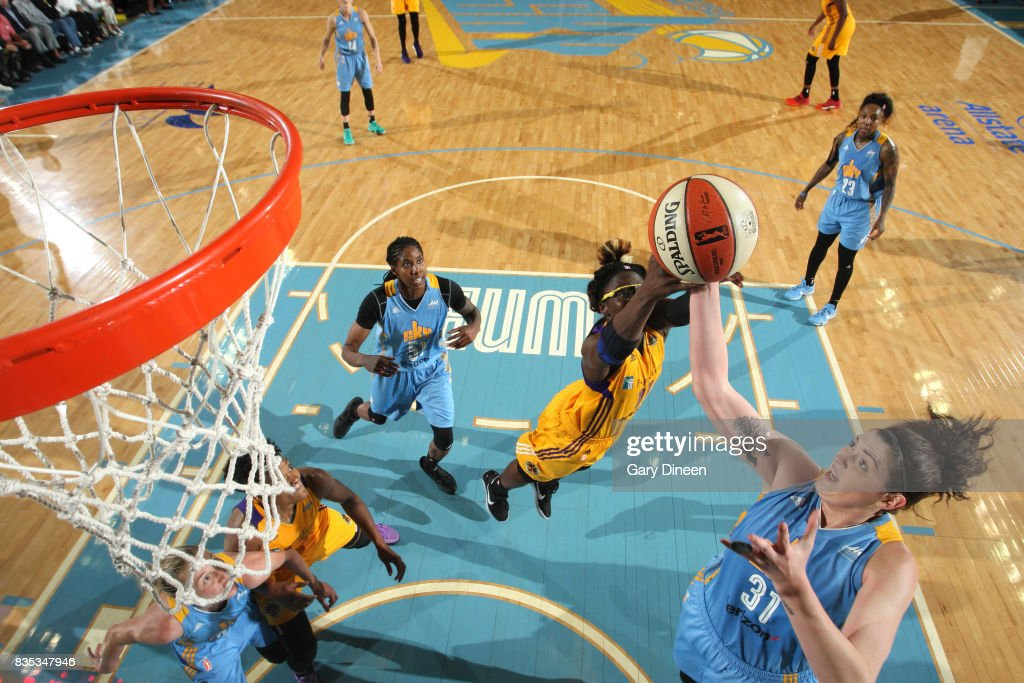 Stefanie Dolson #31 of the Chicago Sky shoots the ball against the Los Angeles Sparks on August 18, 2017 at Allstate Arena in Rosemont, IL.