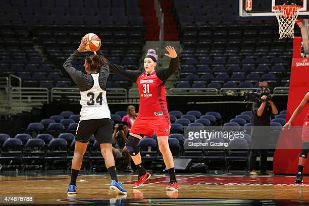 Stefanie Dolson of the Washington Mystics guards her position against the Minnesota Lynx during an Analytic Scrimmage at the Verizon Center on May 26...