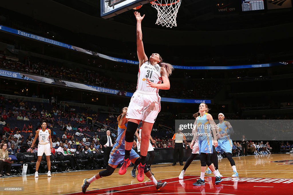 Stefanie Dolson #31 of the Washington Mystics shoots against the Chicago Sky at the Verizon Center on August 13, 2014 in Washington, DC.
