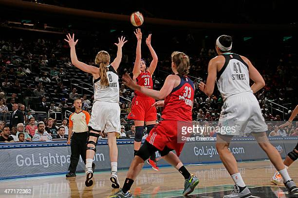 Stefanie Dolson of the Washington Mystics shoots the ball against the New York Liberty on June 14 2015 at Madison Square Garden in New York New York...
