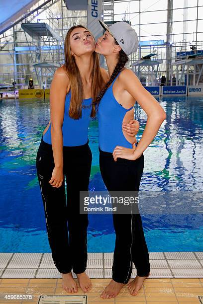 Stefanie Giesinger and Betty Taube attend the TV Total Turmpringen photocall on November 28 2014 in Munich Germany