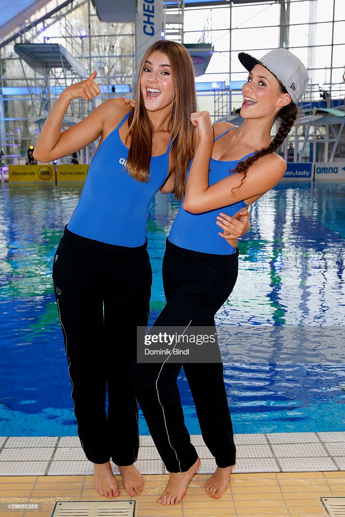 Stefanie Giesinger and Betty Taube attend the TV Total Turmpringen photocall on November 28, 2014 in Munich, Germany.