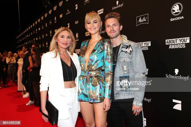 Stefanie Giesinger and her boyfriend Marcus Butler and her mother Helena Giesinger during the 2nd ABOUT YOU Awards 2018 at Bavaria Studios on May 3...