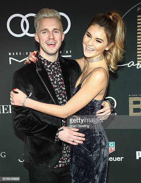 Stefanie Giesinger and Marcus Butler arrive at The Place To B Influencer Award at Axel Springer Haus on December 15 2016 in Berlin Germany