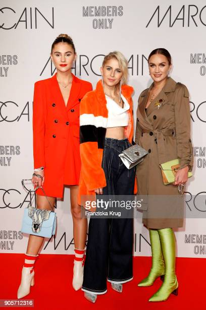 Stefanie Giesinger Caro Daur and Nina Suess during the Marc Cain Fashion Show Berlin Autumn/Winter 2018 at metro station Potsdamer Platz on January...