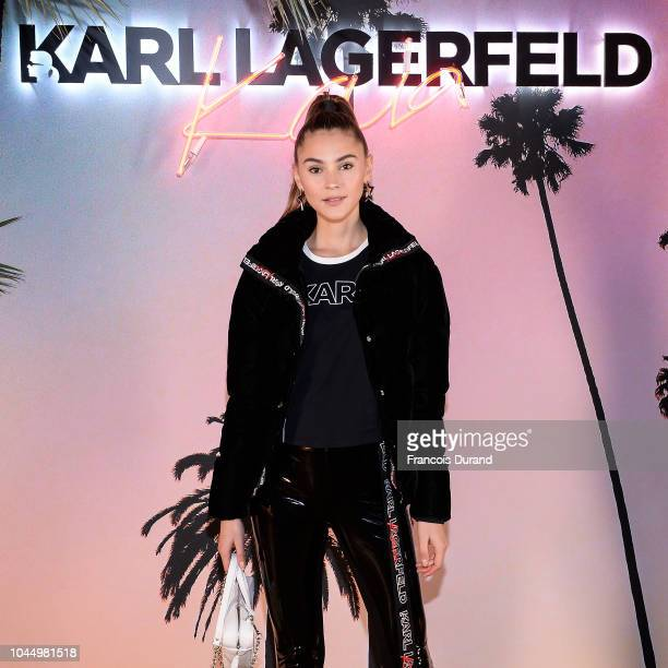 Stefanie Giesinger celebrates the launch of the Karl x Kaia collaboration capsule collection on October 2 2018 in Paris France