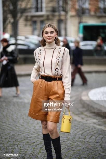 Stefanie Giesinger is seen outside the Miu Miu show during Paris Fashion week Womenswear Fall/Winter 2020/2021 Day Eight on March 02 2020 in Paris...