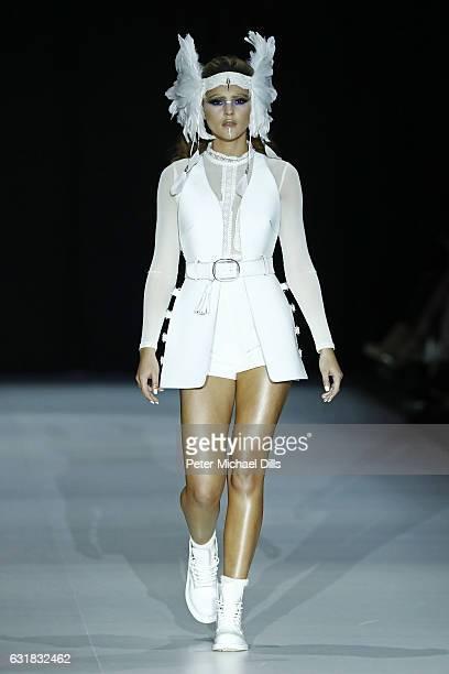Stefanie Giesinger walks the runway at the Maybelline Hot Trendsxhibition 2017 show during the MercedesBenz Fashion Week Berlin A/W 2017 at Motorwerk...
