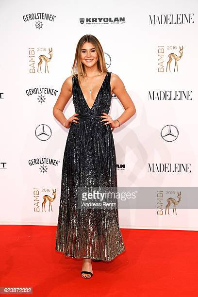 Stefanie Giesinger wearing a dress by Tommy Hilfiger arrives at the Bambi Awards 2016 at Stage Theater on November 17 2016 in Berlin Germany