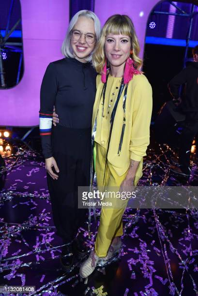 Stefanie Heinzmann and Mieze Katz pose during a photocall after the finals of the KIKA / ZDF television competition 'Dein Song 2019' at MMC Studios...