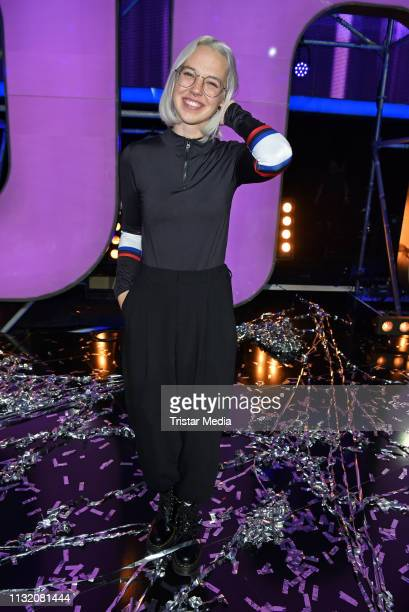 Stefanie Heinzmann poses during a photocall after the finals of the KIKA / ZDF television competition 'Dein Song 2019' at MMC Studios on March 22...