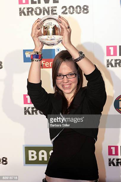 Stefanie Heinzmann poses with her award at the ''1Live Krone'' awards on December 4 2008 in Bochum Germany