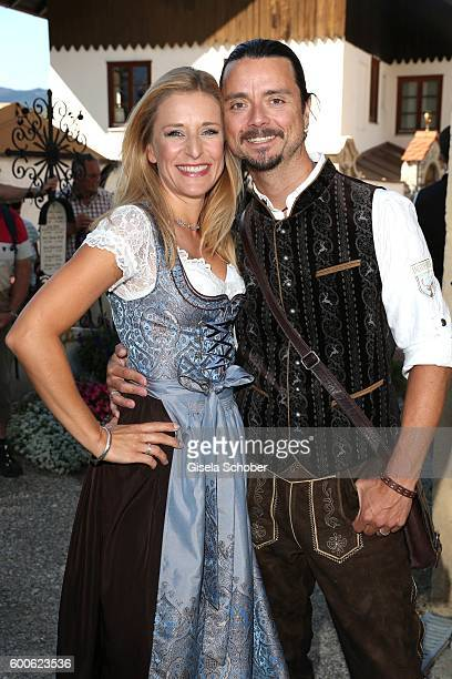 Stefanie Hertel and her husband Leopold Lanner Lenny during the wedding of Marianne and Michael Hartl at St Laurentius church on September 8 2016 in...