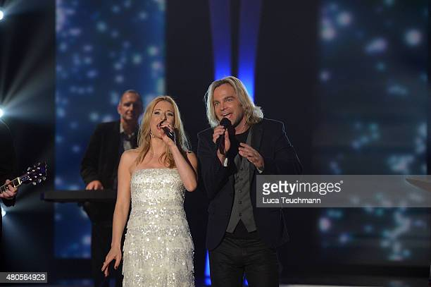 Stefanie Hertel and Muenchener Freiheit performs 'Stefanie Hertel - Die grosse Show der Stars' Show Taping at Jahrhunderthalle on March 25, 2014 in...