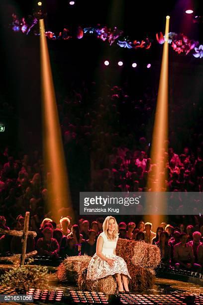 Stefanie Hertel performs at the 'Das grosse Schlagerfest Die ueberraschende Show der Besten mit Florian Silbereisen' on April 16 in Halle 2016 Germany