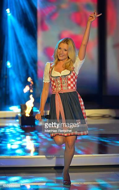 Stefanie Hertel performs during the rehearsal of the tv show 'Stefanie Hertel Meine Stars' on September 23 2014 in Zwickau Germany