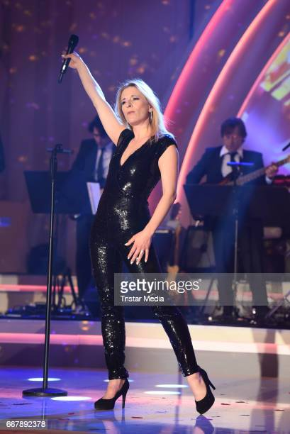 Stefanie Hertel performs during the show 'KULTHITS Die Show mit 100% Livemusik' presented by Kim Fisher at Kongresshalle on April 12 2017 in Leipzig...