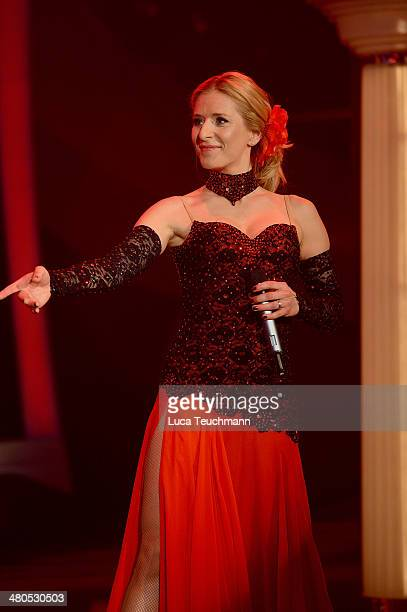 Stefanie Hertel performs during the taping of 'Stefanie Hertel Die grosse Show der Stars' Show at Jahrhunderthalle on March 25 2014 in Leuna Germany