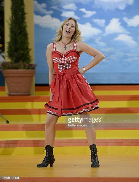 Stefanie Hertel performs during the tv show 'Immer wieder sonntags' at Europapark on May 26 2013 in Rust Germany