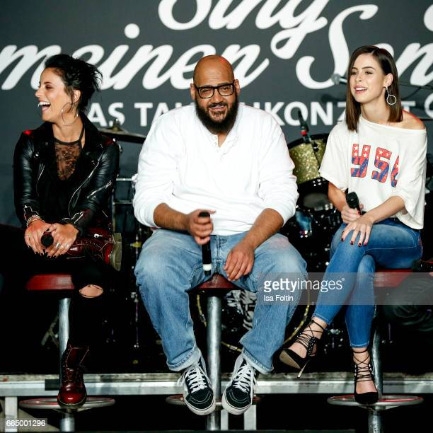 Stefanie Kloss Moses Pelham and Lena MeyerLandrut during the 'Sing meinen Song' Press Conference on April 5 2017 in Berlin Germany