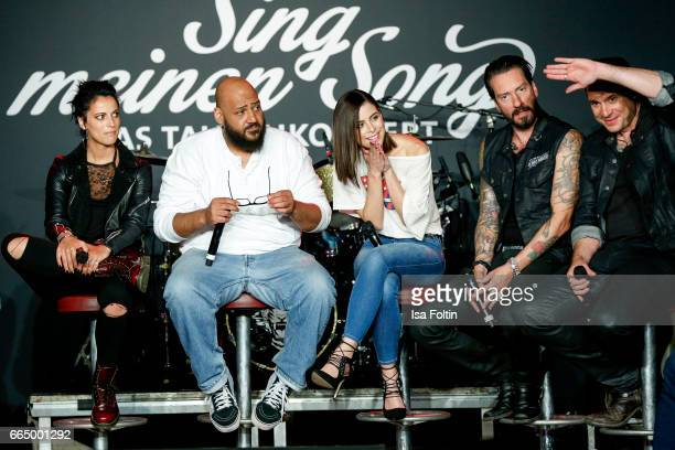 Stefanie Kloss Moses Pelham Lena MeyerLandrut Alec Voelkel and Sascha Vollmer during the 'Sing meinen Song' Press Conference on April 5 2017 in...