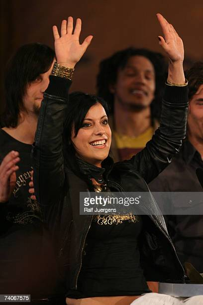 Stefanie Kloss of the band 'Silbermond' accepts the prize for best song and best live act at the VIVA Comet award 2007 on May 03 2007 at the Musical...