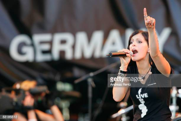 Stefanie Kloss of the German band Silbermond performs at the Live8 concert July 2 2005 in central Berlin The free concert is one of ten simultaneous...
