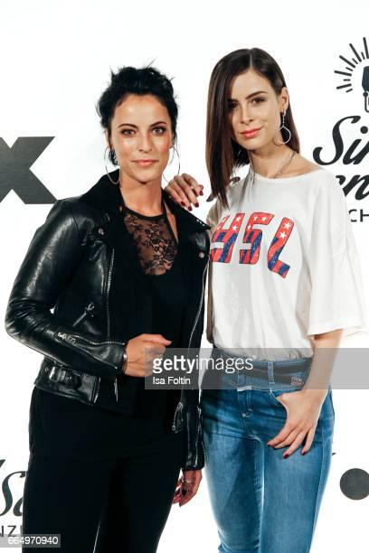 Stefanie Kloss singer of the band 'Silbermond' and German singer Lena MeyerLandrut poses during the 'Sing meinen Song' photo call on April 5 2017 in...